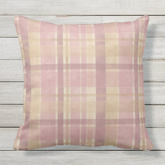 Faded Striped Outdoors Throw Pillow