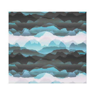 Faded stylised blue mountains canvas print
