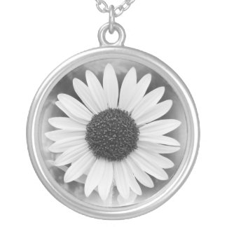 Faded Sunflower Black and White Necklace