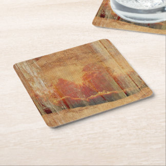 Faded tangerines square paper coaster