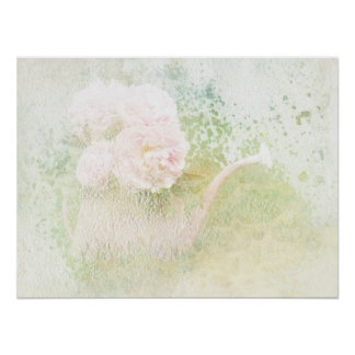 Faded Textures Peony Bouquet Poster