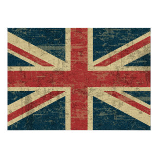 Faded Union Jack Poster