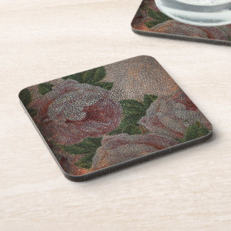 Faded Victorian Pink Roses and Antique Leather Beverage Coaster