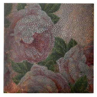 Faded Victorian Pink Roses and Antique Leather Ceramic Tile
