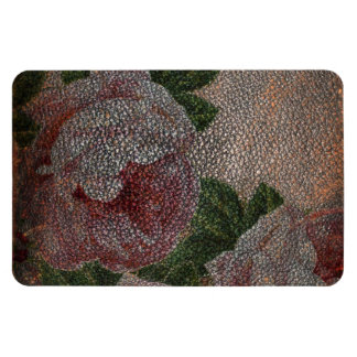 Faded Victorian Pink Roses and Antique Leather Rectangular Magnet