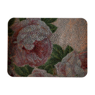 Faded Victorian Pink Roses and Antique Leather Rectangular Photo Magnet