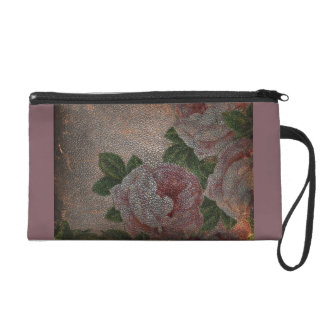Faded Victorian Style Pink Roses Antique Leather Wristlet