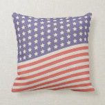 Faded Vintage American Flag Stars and Stripes Throw Pillows