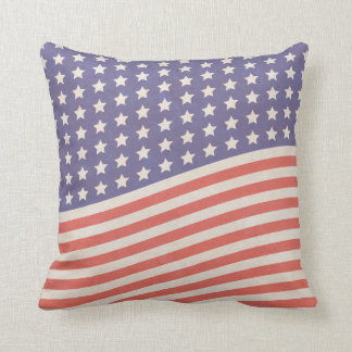Faded Vintage American Flag Stars and Stripes Pillow
