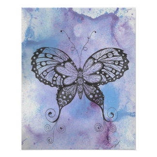 "Faded Watercolor Butterfly 20"" x 16"", Poster"