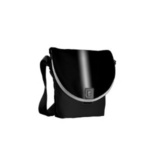 Faded White Stripe on Black Courier Bag