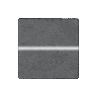 Faded White Stripe on Black Stone Magnet