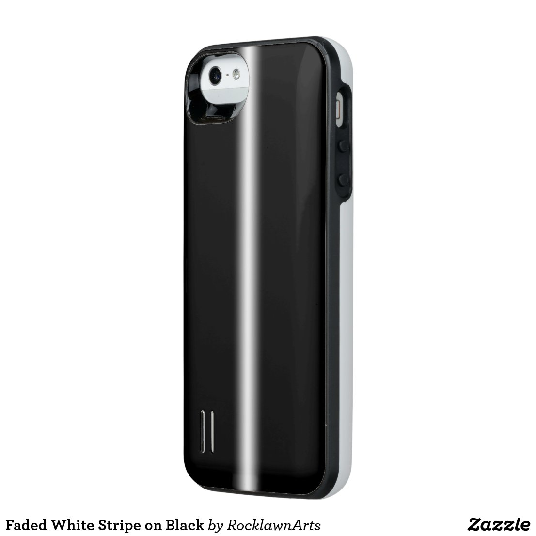 Faded White Stripe on Black iPhone SE/5/5s Battery Case