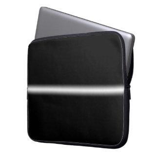 Faded White Stripe on Black Laptop Computer Sleeve