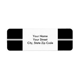 Faded White Stripe on Black return address label