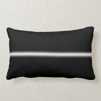Faded White Stripe on Black Throw Pillow