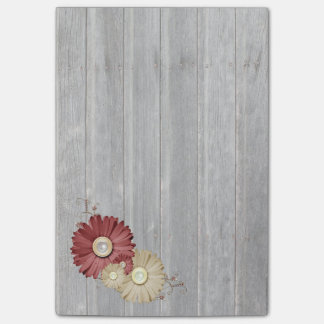 Faded Wood Maroon and Cream Flower Design Post-it Notes
