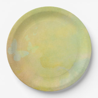 Faded Yellow Vintage Style Watercolor background Paper Plate