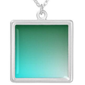 Fades: Dark Green and Light Blue Square Pendant Necklace