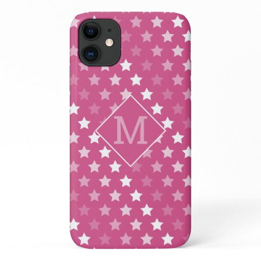 Fading Stars in Cranberry Pink and White iPhone 11 Case