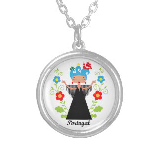 Fado Portuguese Singer with ships Round Pendant Necklace