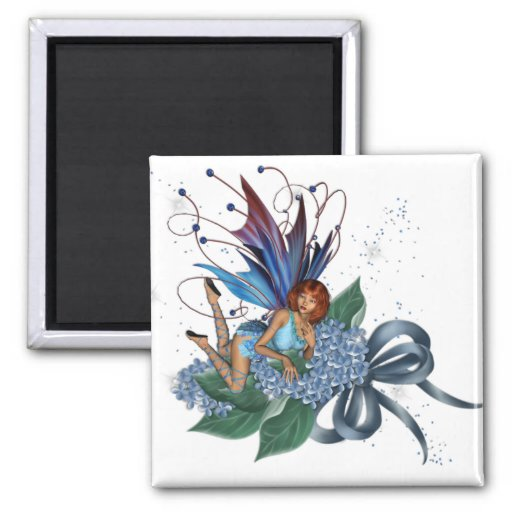 Fae azul en el diseño azul 1 de las flores imán