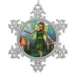 Fae Garden Snowflake Pewter Christmas Ornament