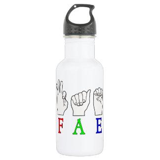 FAE   NAME ASL FINGER SPELLED STAINLESS STEEL WATER BOTTLE