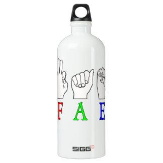 FAE   NAME ASL FINGER SPELLED WATER BOTTLE