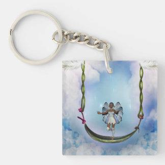 Fae on Swing Single-Sided Square Acrylic Keychain