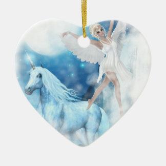 Faerie Asparas del cielo e ilustración del Adorno Navideño De Cerámica En Forma De Corazón