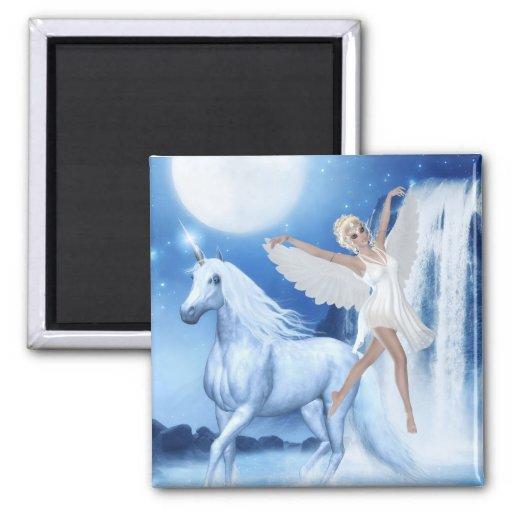 Faerie Asparas del cielo y unicornio Imán Para Frigorifico