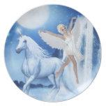 Faerie Asparas del cielo y unicornio Plato