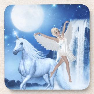 Faerie Asparas del cielo y unicornio Posavaso