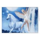 Faerie Asparas del cielo y unicornio Tarjeta De Felicitación