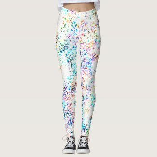 Faerie:Butterfly Bush, Pale Canary, Pink & Snow Leggings
