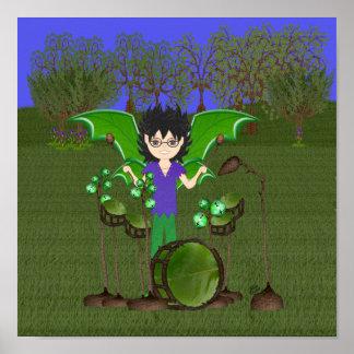Faerie con alas del muchacho del batería del dragó poster