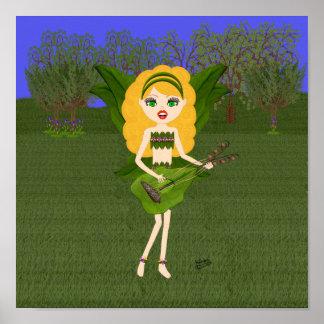 Faerie con las alas y la guitarra verdes de la hoj impresiones