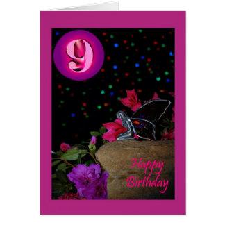 Faerie de hadas del feliz cumpleaños 9nos nueve 9 tarjeta de felicitación
