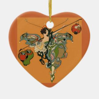 Faerie de la bailarina con las linternas adorno de cerámica en forma de corazón