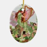 Faerie de la música que juega música adorno navideño ovalado de cerámica