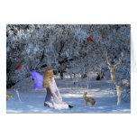 Faerie del solsticio de invierno con los animales tarjeta de felicitación