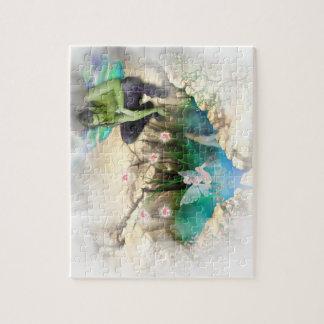 Faerie en la ilustración de la charca de Elven Rompecabezas Con Fotos