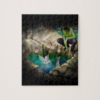 Faerie en la ilustración de la charca de Elven Rompecabeza Con Fotos