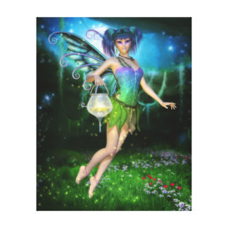 Faerie Glimmers in the Night Wrapped Canvas Print