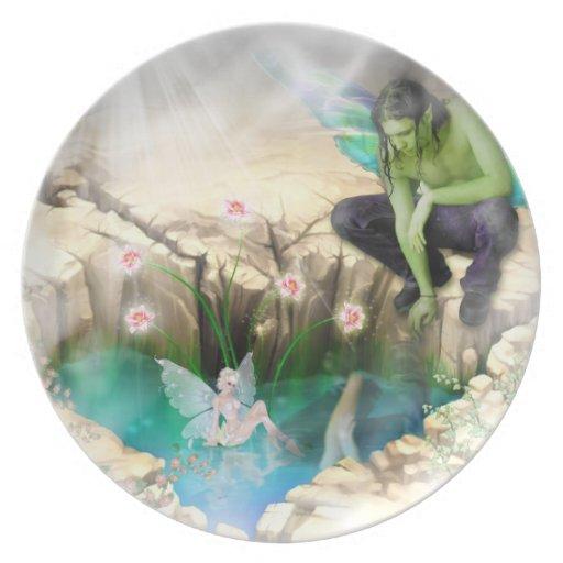 Faerie in Elven Pond Vignette Dinner Plate