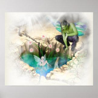Faerie in Elven Pond Vignette Poster