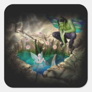 Faerie in Elven Pond Vignette Square Sticker
