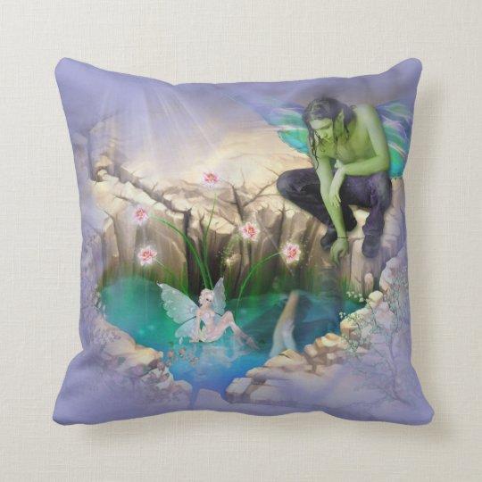 Faerie in Elven Pond Vignette Throw Pillow