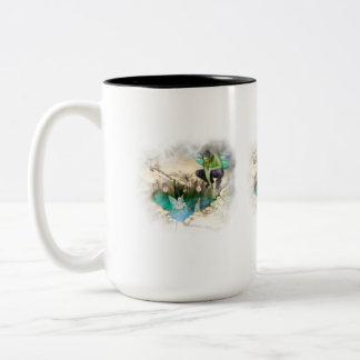 Faerie in Elven Pond Vignette Two-Tone Coffee Mug